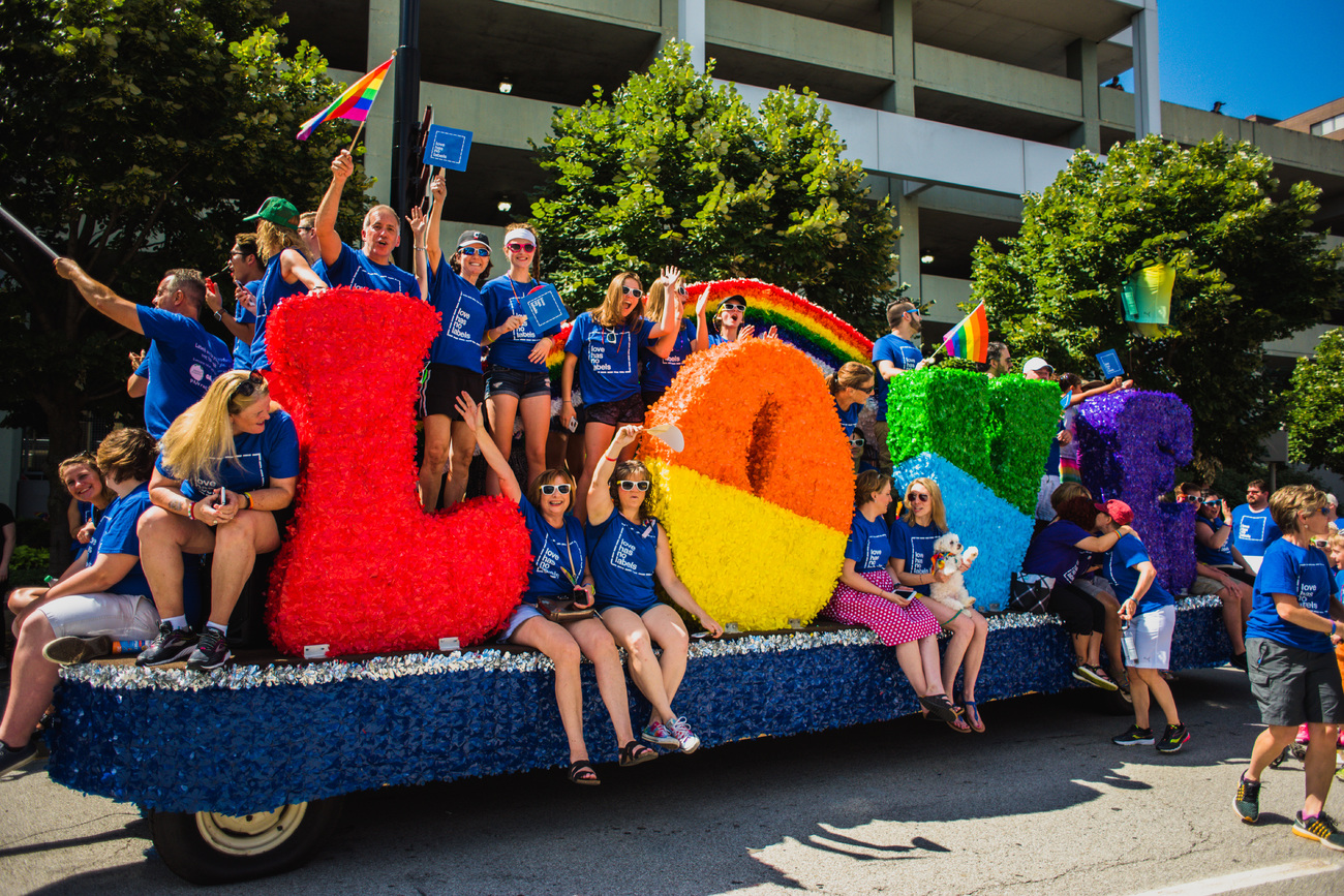 float at a Pride parade in Cincinnati
