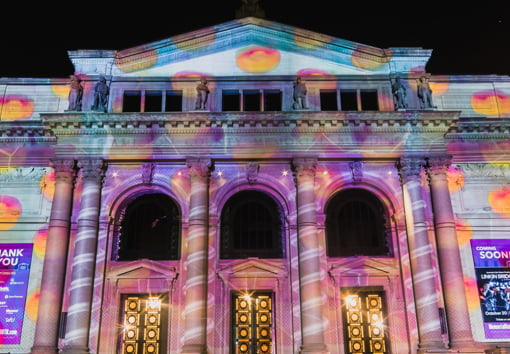 light projection on building for BLINK cincinnati