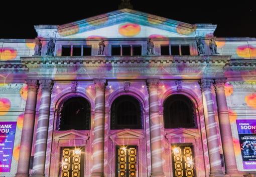 light projection on building for BLINK cincinnati