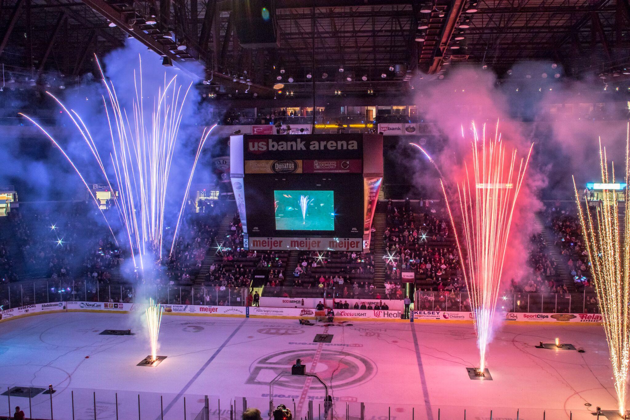 fireworks going off for Cincinnati Cyclones Hockey game