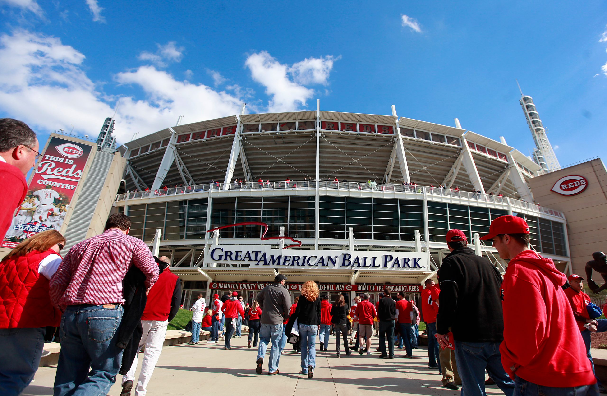 crowds walking into Cincinnati Reds stadium for Opening Day