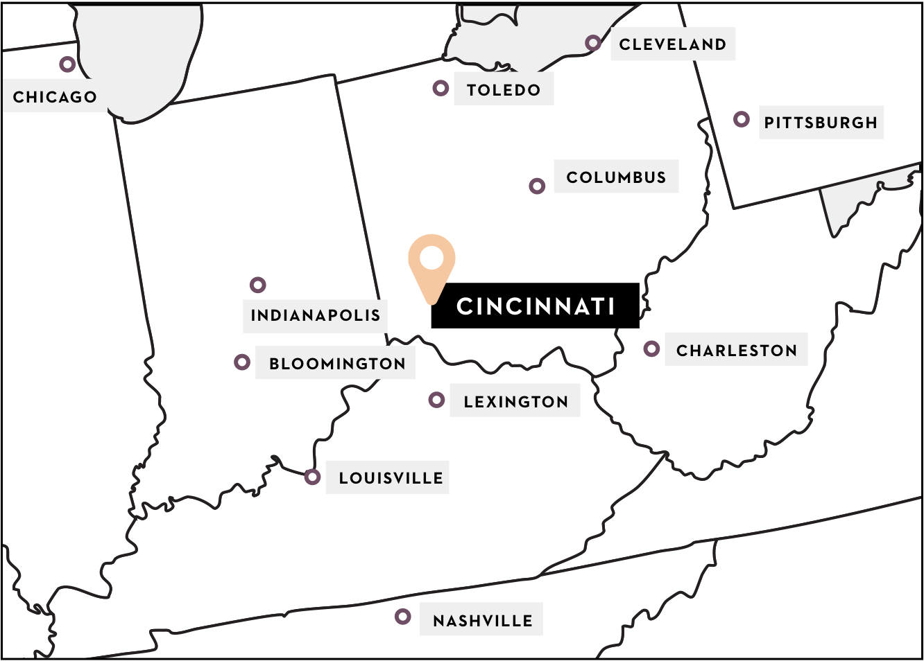 Map of the midwest with Cincinnati highlighted in the middle