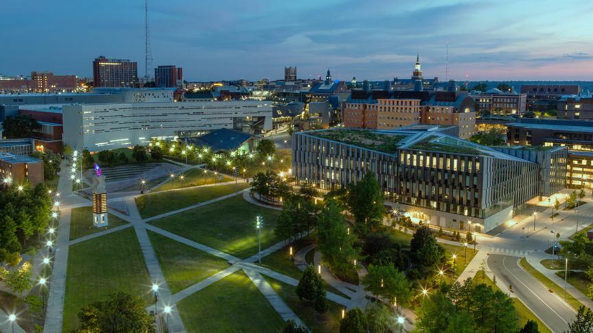 University of Cincinnati campus at twilight